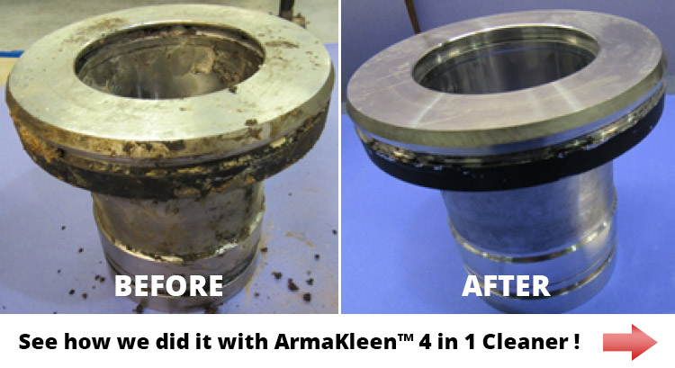 Before and after image of parts cleaned in aqueous cleaner
