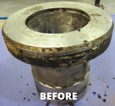 Before image of part to be cleaned in an aqueous parts washer