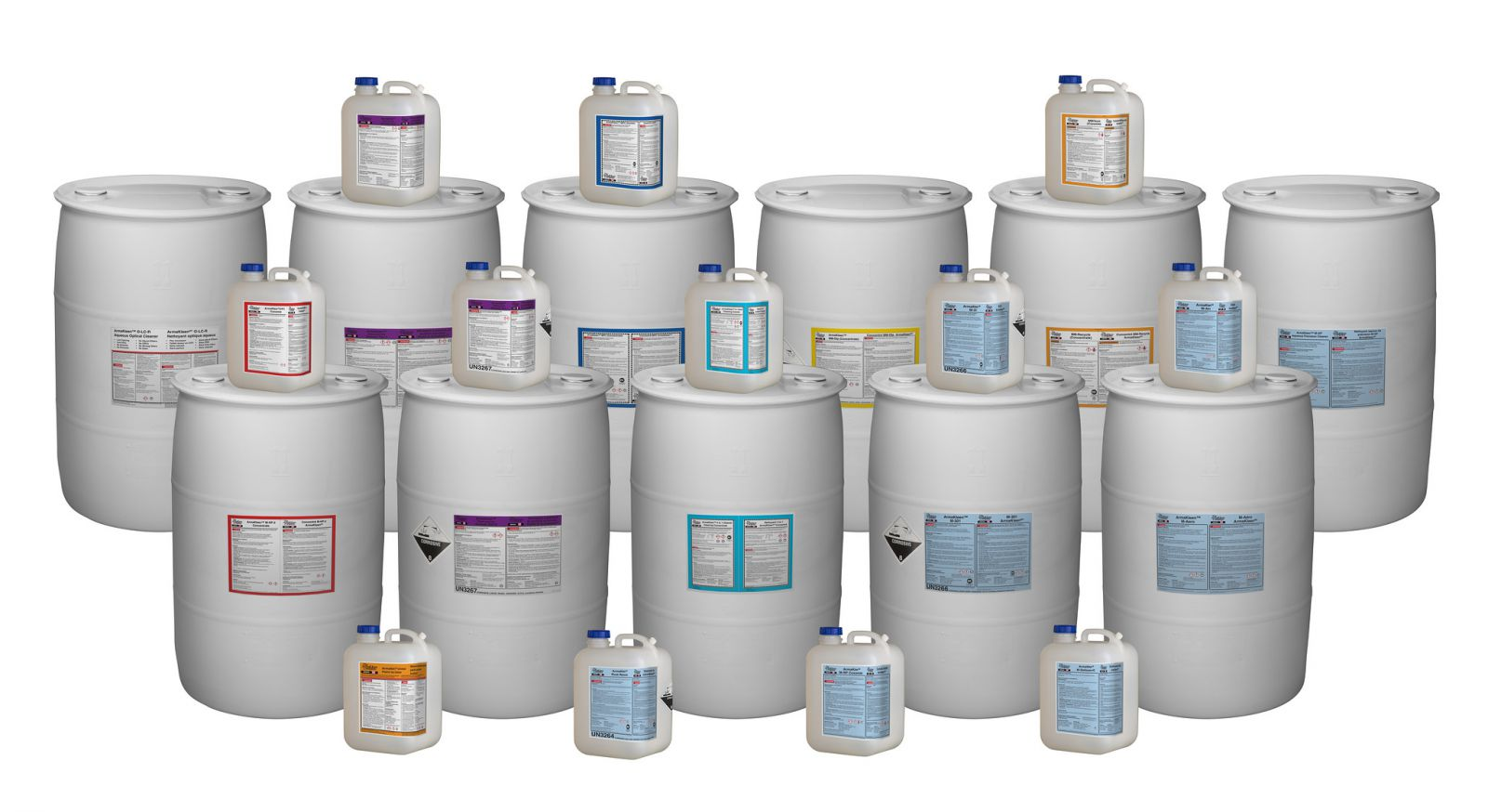 ArmaKleen aqueous cleaners in 55 gallon drums. Most of ArmaKleen's aqueous cleaners meet all applicable VOC laws and many contain absolutely no VOCs.